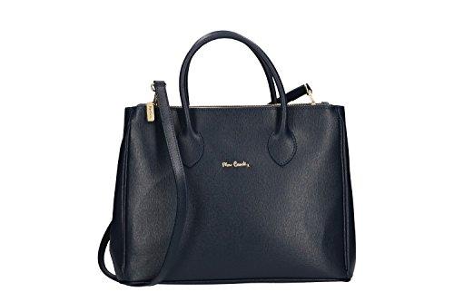 Bolsa mujer de mano bandolera PIERRE CARDIN azul cuero Made in Italy VN240