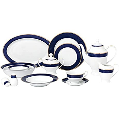 Lorren Home Trends 57 Piece Midnight Bone China Dinnerware Set Service For 8 People Blue
