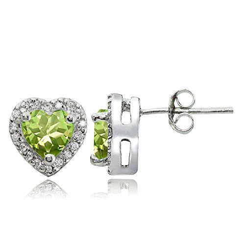 Sterling Silver Peridot and White Topaz Heart Halo Stud (Heart Shaped Topaz)