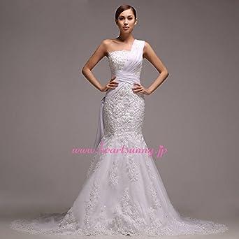 ce1a4d43943e9 (HeartSunny) サイズオーダーメイドウェディングドレス マーメイド A212 オフショルダー 交差 ビーズ 編み上げ トレーン