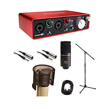 Focusrite Scarlett 2i2 USB Audio Recording Interface Package MXL 770 Microphone Wind Screen Cables Mic Stand