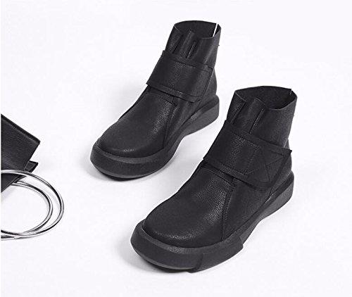 De Noir Flat Bottes Khskx Fille Et La Femmes Ronde Marée Nue Version Loisirs 3cm Coréenne Velcro Tête D'épaisseur Chaussures bottomed 37 Du aanxB