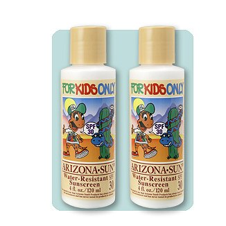 (2PK) Arizona Sun - Sunscreen Water Resistant SPF 30 For Kids – 4 oz – Total Sun Protection Lotion - Oil Free - Face and Body – Just for Kids by Arizona Sun