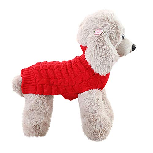 Hpapadks Pet Dog Cashmere Twisted Sweater, Pet Dog Cat Winter Warm Turtleneck Sweater Coat Costume Apparel Small Dog - Pillow Quilted Cashmere