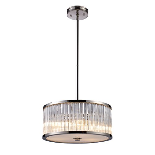 (Alumbrada Collection Braxton 3 Light Pendant In Polished Nickel And Ribbed Glass Rods)