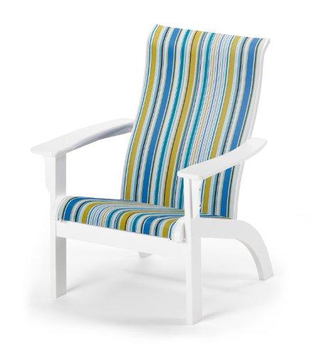 Telescope Casual Adirondack MGP Sling Chair, Textured Snow Finish with Coastline Stripe Sling Fabric
