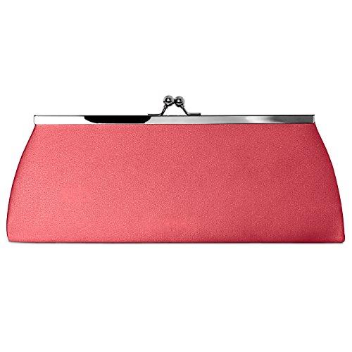 Caspar clásica mujer satén Clutch/bolso con gancho de metal elegante–Muchos colores–ta309 coral