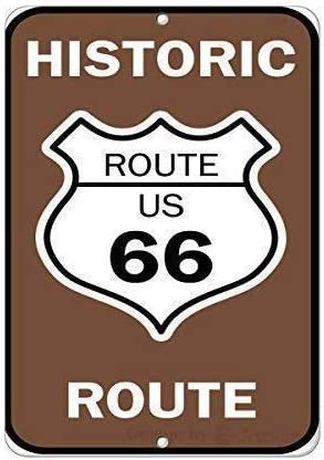Eletina Happy Wall Decor Se/ñal de Advertencia Historic Route US 66 Route Traffic Sign Road Sign Business Sign 30,48 x 40,64 cm Aluminio Metal esta/ño Placas