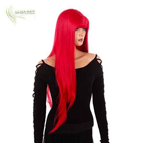 Long Red Wig with Bang Straight Synthetic Hair Lady Bang(HTY 113B) ()