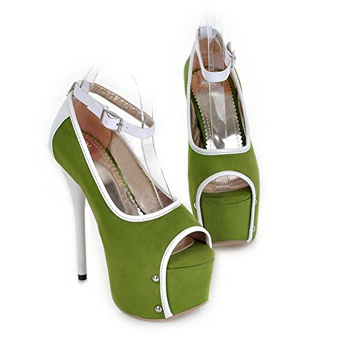Peep Pumps Colors Toe Heel Frosted Green VogueZone009 Assorted High UK Open PU Stiletto 3 5 Platform Womens qxfx7CEA