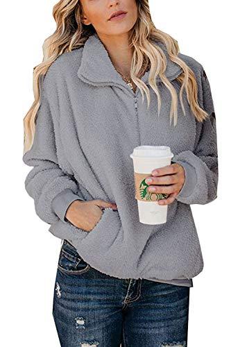 HSRKB Womens Sweatshirts Fall Fleece Jackets Comfy Sherpa Pullover 1/4 Zip Winter Coats Grey