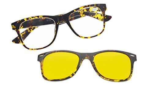 Reading Glasses Computer Eyewear With Blue Light Blocking,Reduce Eyestrain,UV Protection,Polarized Photochromic Lens Sun Clip(Tortoise) +1.75