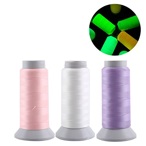 Embroidery Sewing Thread, 1000 Yards Spool Luminous Sewing Thread Glows in The Dark for Home Handmade Machine Embroidery (1000 Yards, 3 Clours)