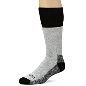Dickies Men's 2 Pack High Bulk Acrylic Thermal Boot Crew Socks, Black, Sock Size:10-13/Shoe Size: 6-12