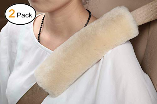 Soft Faux Sheepskin Seat Belt Shoulder Pad- Two Packs- A Must Have for All Car Owners for a More Comfortable Driving (Creamy-White)