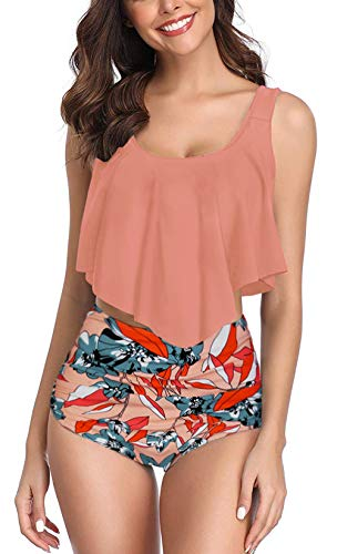 (Nashion Swimsuit for Women Two Pieces Bathing Suits Top Ruffled Racerback with High Waisted Bottom Tankini Set,Orange,2XL )
