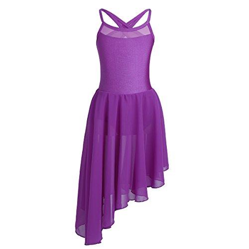 FEESHOW Kids Girls Empire Waist Gymnastics Camisole Leotard Ballet Dance Dress Ballerina Costumes Cutout Back Purple 13-14