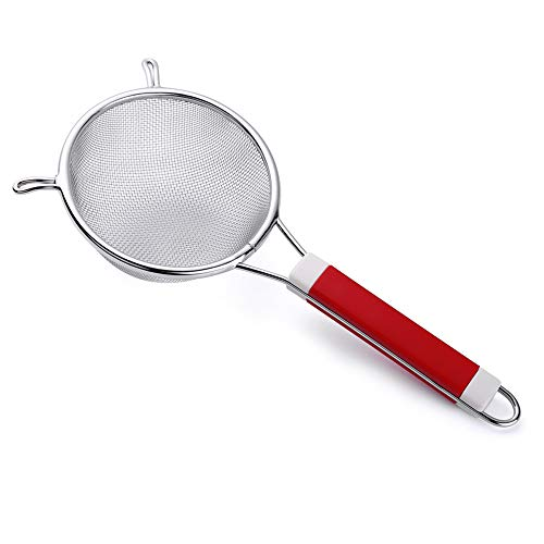 9' Tenta Kitchen Stainless Steel Fine Mesh Strainer Broth Strainer with ABS Solid Color Sturdy Handle and 2 Wider Hook - Perfect for Quinoa Clams Rice Bone Broth Fruits and Vegetables