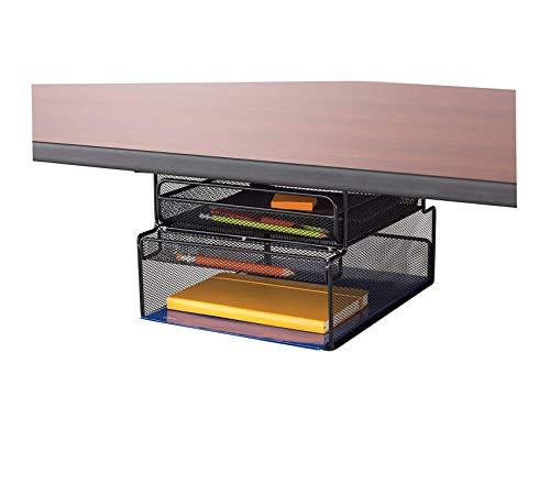 Sаfcо Prоducts Premium Onyx Mounted Under-Desk Hanging Storage Convenient Organization Ideal for Sit-Stand Workstations Black Storage