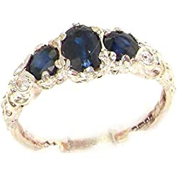 18k White Gold Natural Sapphire Womens Trilogy Ring - Sizes 4 to 12 Available