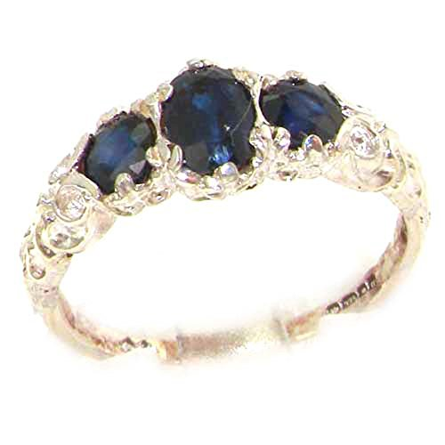 18k White Gold Natural Sapphire Womens Trilogy Ring - Sizes 4 to 12 (White Gold Trilogy Ring)
