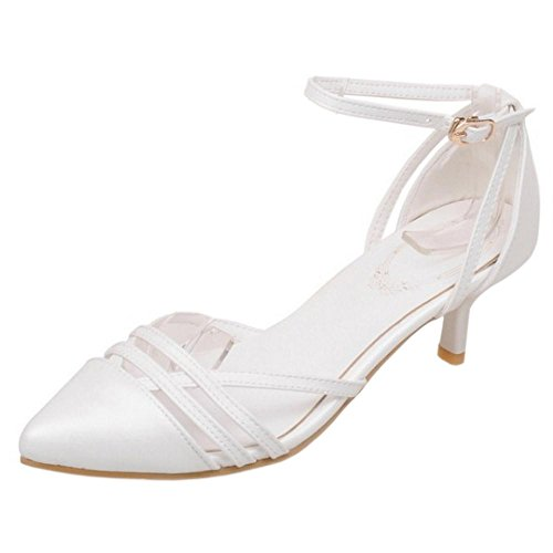 TAOFFEN Women's Pointed Toe Sandals Court Shoes White Xywcx5g6rE