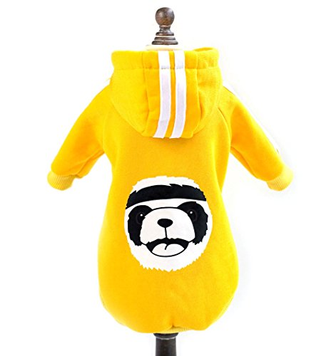 SELMAI Pet Puppy Fleece Hoodie Sweatshirt for Small Doggie Cat Basic Hoodie Sweater Pajamas Warm Cotton Cold Weather Coat Jacket Chihuahua Yorkie Boy Girl Warm Clothes Apparel Outfits Yellow XXL