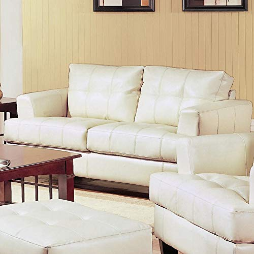 Benzara BM182663 Contemporary Bonded Leather and Wooden Loveseat, Cream