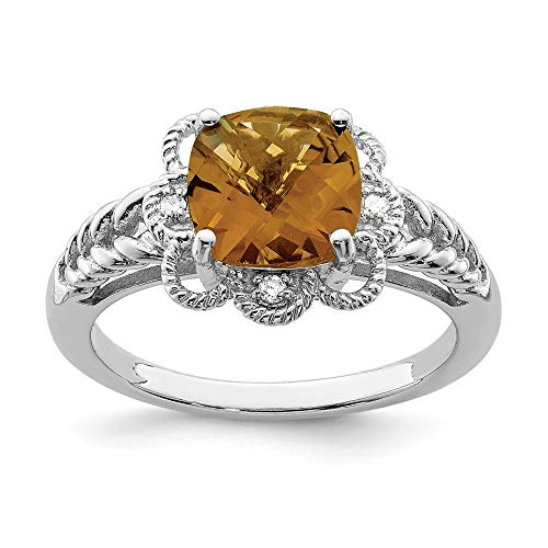 Bow Cushion Diamond Cut Ring (Whiskey Quartz & .04 Ctw (H-I Color, I2-I3 Clarity) Diamond Scalloped Sterling Silver Ring, Size 9)