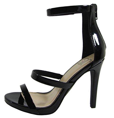 Utsökta Kvinnor Öppen Tå Tillbaka Zip Ankel Strappy Stilett Hög Klack Sandal Svart Patent