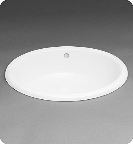 Ronbow 200392-WH Oval Ceramic Drop-in Bathroom Sink in White - Ronbow Oval Ceramic