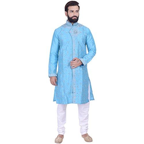Rajwada Men's Ethnic Indian Designer Kurta 2pc Suit (Large (40), Blue)