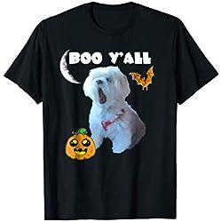 Boo Y'All Maltese Dog Halloween Tshirt Funny