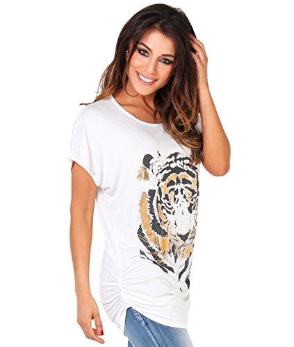 (Oversized Tiger Print Tee Shirt Short Sleeve (NUS2093-CRM-12.15),Cream,8)