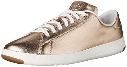 Cole Haan Womens Grandpro Tennis In Pelle Pizzo Ox Moda Sneaker Metallizzato Oro Rosa / Bianco Ottico