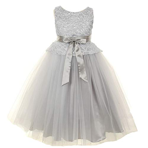 KiKi Kids USA Big Girls Silver Lace Tulle Charmeuse Special Occasion Flower Girl Dress 8 from KiKi Kids USA