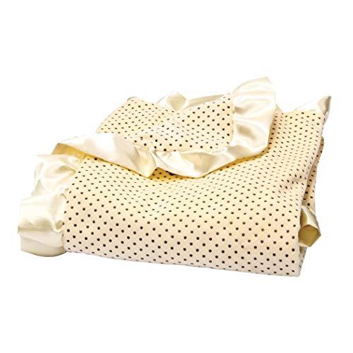 (TN 1 Piece Baby Girls Yellow Cream Polkadot Crib Blanket, Newborn Black Dots Nursery Bedding, Banana Taupe Satin Ruffled Border Trim Cozy Soft Cute Adorable, Polyester)