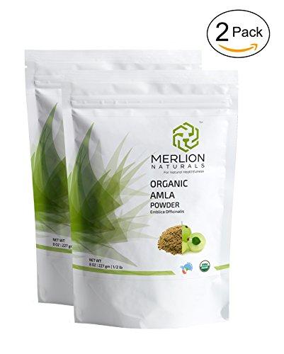 Organic Amla Powder by Merlion Naturals (Indian Gooseberry/ Emblica Officinalis) - USDA NOP Certified 100% Organic (16 OZ)