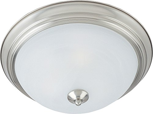 Maxim 5842MRSN Essentials 3-Light Flush Mount, Satin Nickel Finish, Marble Glass, MB Incandescent Incandescent Bulb , 40W Max., Damp Safety Rating, Standard Dimmable, Glass Rod Shade Material, Rated Lumens ()
