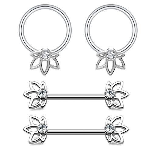 JFORYOU 2 Pairt Nipple Rings Flower with CZ Inlaid Nipple Bars Barbells Rings and Captive Bead Rings- 14G 316L Stainless Steel Nipple Piercing