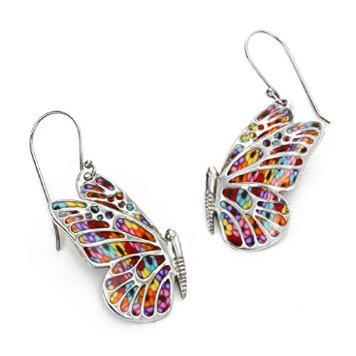 925 Sterling Silver Butterfly Dangle Earrings Handmade Multi Colored Polymer Clay Jewelry