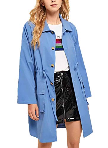 Larga Mujer Azul Manga Outerwear Largos Otoño Primavera Color Cordón Con Botonadura Ropa Gabardina Abrigos Parka Windbreaker Sólido Elegante q4vq1