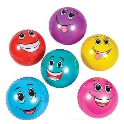 "Jumbo Knobby Ball With Funny Faces 6 Pack (18"" Inch): Toys & Games"