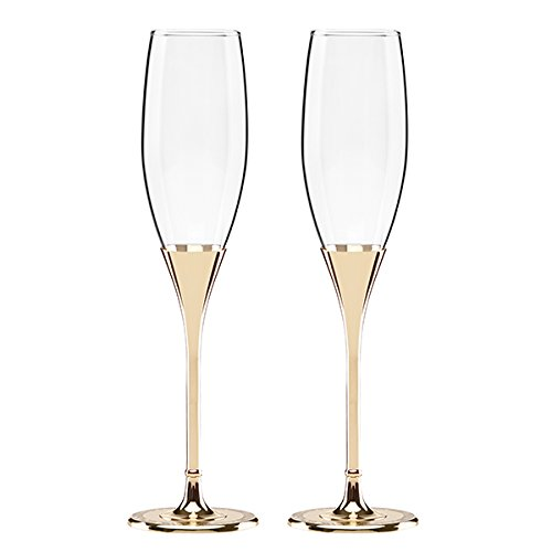 Kate Spade New York Simply Sparkling Gold Champagne Toasting Flute Pair, Crystal and Gold-Plated Metal (Flutes Wedding Toasting)