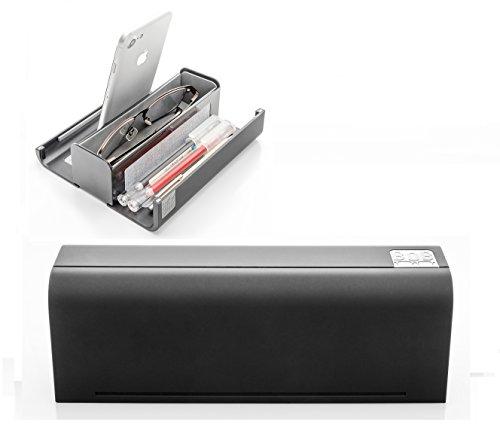 BOB Desk Caddy | Portable Desk Organizer | Desk Storage for Eyeglasses, Phone, Tablet, Pen | Smartphone Stand | Hard Travel Eyeglass Case | EDC | Black