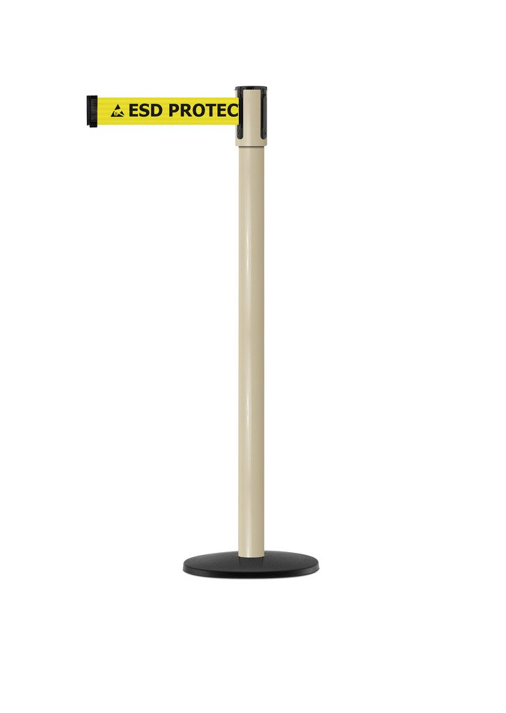 Tensabarrier - 890B-33-100-100-STD-NO-ESD-C - beige post, 2'' wide, 7'6'' length ''ESD'' with Logo belt