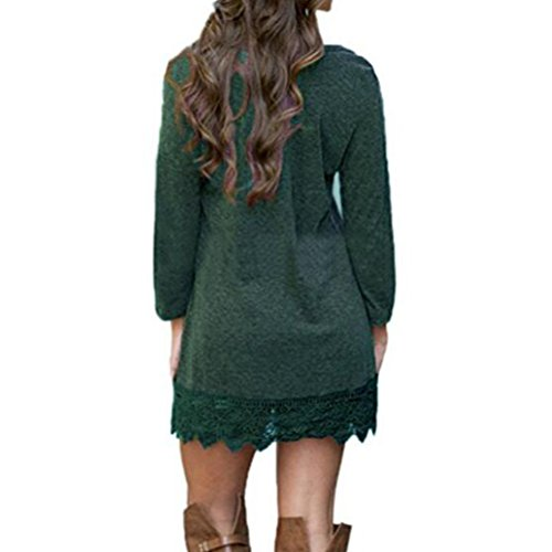Long Line A Green Dark Sleeves SYGoodBUY Women Dress Neck s Evening Vintage Swing Round Lace IwXgt