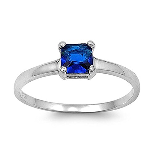 Ring Promise Sapphire (Solitaire Wedding Engagement Promise Ring Princess Cut Square Simulated Sapphire 925 Sterling Silver, Size-7)