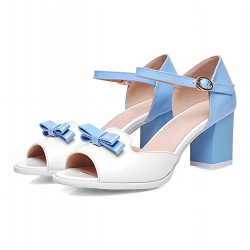 Carol Shoes Elegance Womens Bows Assorted Colors Peep-toe Chic Chunky Mid Heel Mary Janes Sandals Blue 6oKpT