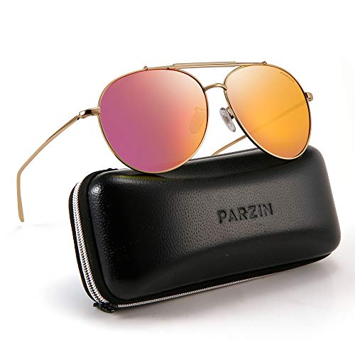 Polarized Aviator Sunglasses for Men Women PARZIN Vintage Metal Frame Driving Beach Sunglasses 100% UV ()